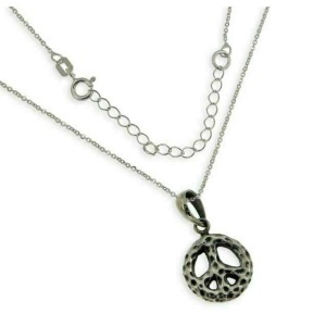 """Sterling Silver Bali PEACES SIGN With Adjustable Chain 16"""" to 18"""" Pendant » P24"""