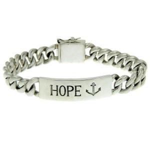 Men's 925 Sterling Silver Hope Curb Cuban Chain Bibi Bracelet Size 7 1/4 » B15