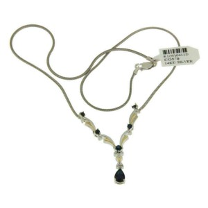 """Women's 925 Tow Tone Sterling Silver & 14K Gold Sapphires 17"""" Necklace » P615"""