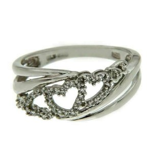 925 Sterling Silver Diamond Heat Band Ring Size 7 »R217