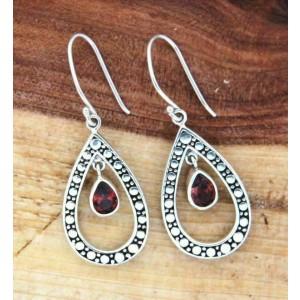 925 Sterling Silver Garnet Dangle Drop Shape Earring » E11