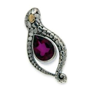 925 Sterling Silver & 18 K Gold Pebble Bali Tourmaline Pendant»P119