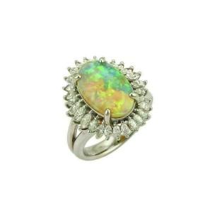 Platinum 5.15ct Diamond & Fire Opal Cocktail Ring