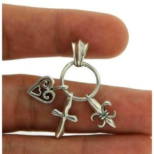 Solid Sterling Silver Multi Charm Cross-Fleur De Lys-Heart Pendant