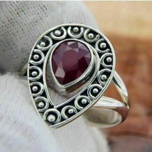 925Sterling Silver Ruby Teardrop Bali Ring » R315