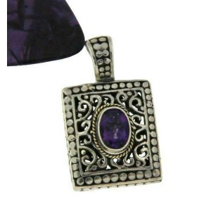 Women's Sterling Silver & 14K Gold Accent Amethyst Pendant »P515