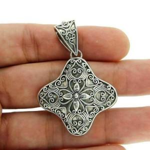 Large 925 Sterling Silver Flower Cluster Pendant»P314