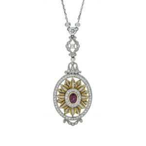 Ruby Diamond Oval Pendulum Pendant Necklace 18k Gold Platinum ( 2.50 ct tw )
