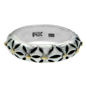 Solid Sterling Silver & 14 k Comfort Band Ring » R23