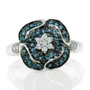 Solid Sterling Silver White & Green Diamond Flower Ring»R216