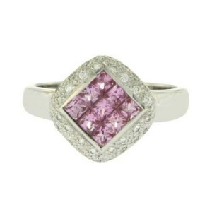 1.27 CT Invisible Set Pink Sapphire & 0.24 CT Diamonds in 18K White Gold Ring