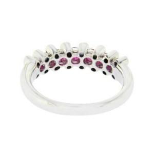 18K White Gold 0.16 CT Diamonds & 0.86 CT Ruby Wedding Band Ring »BL112