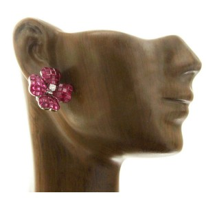 18K White Gold 0.20 CT Diamonds & Invisible 14.13 CT Ruby Flower Earring »E3233