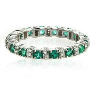 18K White Gold 0.32 CT Diamonds & 0.89 Emerald Wedding Band Ring Size 6.5 »BL19