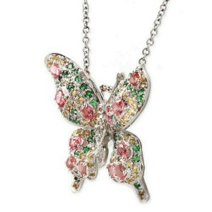 """14K White Gold 0.09 CT Diamonds 2.45 CT Multi Sones Butterfly Necklace 16"""" »BL19"""