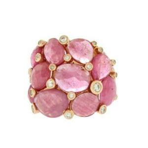 13.80 CT Sliced Rose Cut Pink Sapphire & Diamonds in 14K Rose Gold Ring Size 7