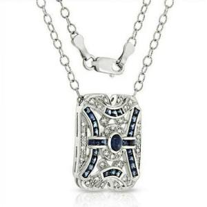 """18K Gold 0.51 CT Diamonds 3.15 CT Blue Sapphire Art Deco Necklace 16"""" »BL112"""
