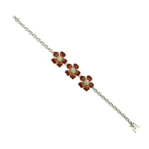 "Invisible Set 24 CT Natural Orange Sapphire & Diamonds 18K Gold Bracelet 7"""