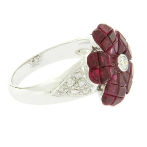 18K White Gold 0.29 CT Diamonds & Invisible 6.85 CT Ruby Flower Ring »R2081
