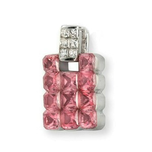 18K White Gold 0.25Ct Diamonds 3.95CT Invisible Set Pink Sapphire Pendant »BL116