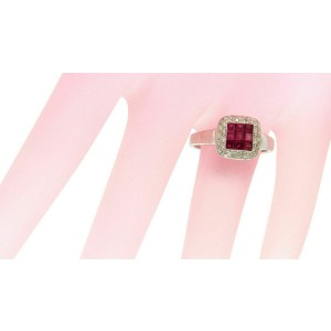 1.16 CT Invisible Set Ruby & 0.32 CT Diamonds in 18K White Gold Ring
