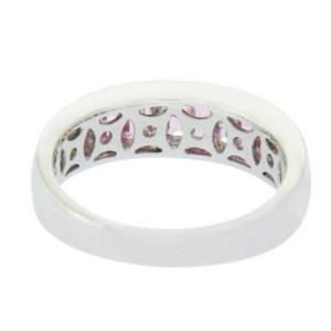 18K White Gold 0.20 CT Diamonds & 1 CT Pink Sapphire Wedding Band Ring »BL110