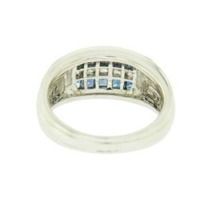 18K White Gold 0.52 CT Diamonds & 1.04 CT Blue Sapphire Wedding Band Ring »BL114