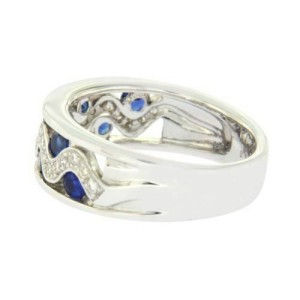 18K White Gold 0.26 CT Diamonds & 1.20 CT Blue Sapphire Wedding Band Ring »BL115