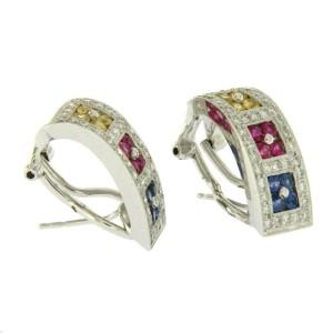 18K Gold 0.93 CT Diamonds & 1.38 CT Multi Sapphire Omega Back Earring »BL123