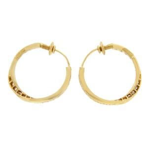 "H Stern 18K Yellow Gold 4.85 CT Diamonds 1.12"" Hoop Earrings"