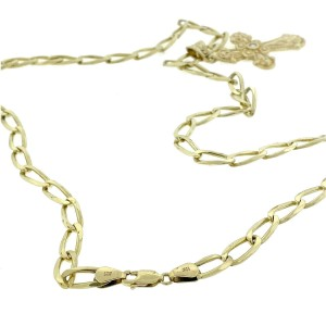 14k Yellow Gold Oval Link Chain Necklace With Diamond Cross Pendant
