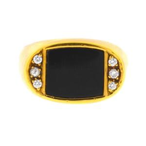 18k Yellow Gold Onyx & Diamonds Men's Ring