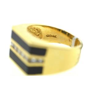 18k Yellow Gold Onyx & Channel Set Diamonds Men's Ring