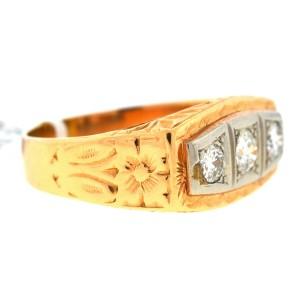 14k Rose Gold Three Stone Men's Ring
