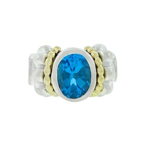 LAGOS Two Tone Oval Blue Topaz Ring