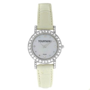 Tourneau Austern & Paul W19350W-14 Diamond 18K White Gold MOP 25MM Quartz Watch