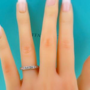 Tiffany & Co Half Circle 3 MM Round Diamond 0.33 tcw Wedding Band Ring Platinum