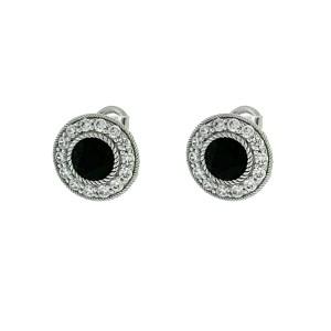 Judith Ripka Sterling Silver Onyx and Cz Stud Earrings