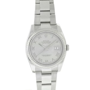 Rolex 116234 Datejust 36mm Silver Dial Fluted Bezel Stainless Steel Watch