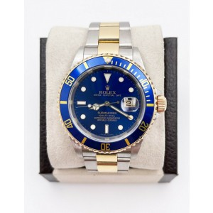Rolex Submariner 16613 Blue Dial 18K Gold Stainless Steel Box Paper Rare 2008