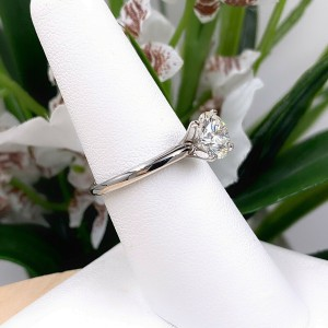 LEO Round Brilliant Diamond 1.52 cts H SI1 Solitaire Engagement Ring 14K WG PLAT