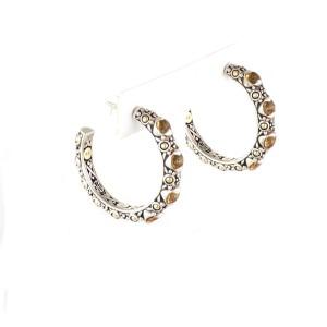 John Hardy Jaisalmer Citrine 18k Yellow Gold Sterling Silver Dot Hoop Earrings