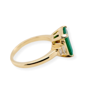 2.48 CT Zambian Emerald & 0.18 CT Diamonds in 14K Yellow Gold Engagement Ring