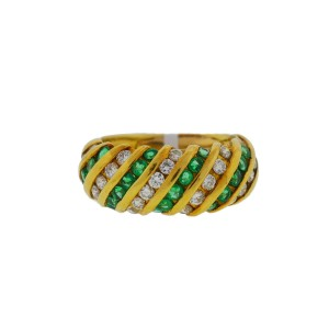 18k Yellow Gold Channel Set Emerald Ring