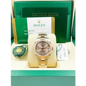 Rolex Datejust 178241 Midsize 18K Rose Gold Stainless Steel Box Paper 31mm