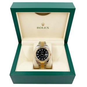 Rolex 116333 Datejust 41 Black Arabic Dial 18K Yellow Gold Stainless Steel