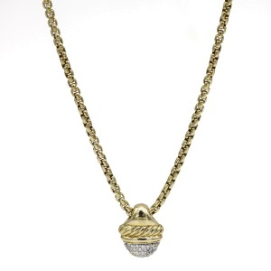 David Yurman Diamond Acorn 18k Yellow Gold Necklace