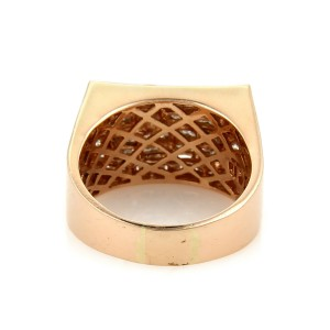 Rectangular 1.85ct Diamond 14k Rose Gold Fancy Top Ring