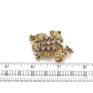 Opal 14k Yellow Gold Fancy Design Frog Brooch