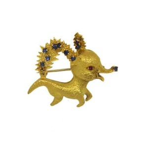 Vintage French Sapphire & Ruby 18k Yellow Gold Baby Reindeer Brooch Pin